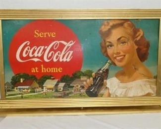 51X30 DS Coca Cola CARDBOARD W/ FRAME