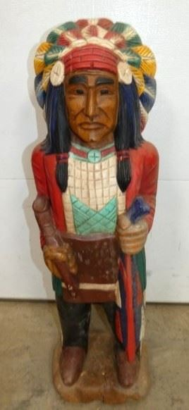 3FT WOODEN CARVED INDIAN CHEIF