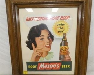 13X17 MASONS ROOT BEER CARDBOARD