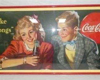 "58X29 ""COKE BELONGS"" REPLICA CARDBOARD"