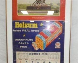 16X36 1968 HOLSUM BREAD CALENDAR W/LOAF