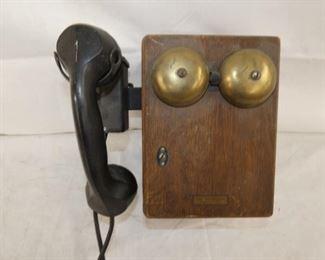 EARLY PHONE W/ OAK RINGER BOX