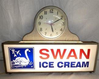 26X19 SWAN ICE CREAM LIGHTUP CLOCK