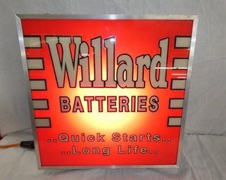 19X19 LIGHTED WILLARD BATTERIES SIGN