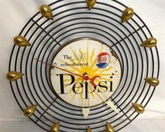 17IN ART DECO PEPSI CLOCK