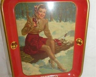 1941 COKE TRAY W/ICE SKATING GIRL