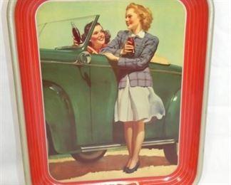 1942 COKE TRAY W/LADIES IN CAR