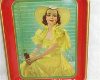 1938 COKE TRAY W/SOUTHERN BELL LADY
