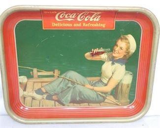 1940 COKE TRAY W/FISHING GIRL