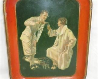 1926 COKE TRAY W/MAN & WOMAN GOLFERS