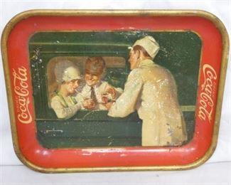 1927 COKE TRAY W/MAN,WOMAN, & SERVER