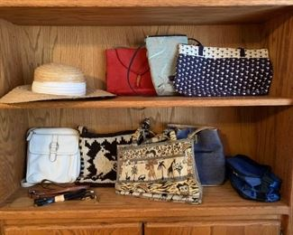 Nice collection of purses and a sun hat. It features purses from designers such as Fossil, J.Renee, Surichi and a custom crocheted purse from South America as well.      https://ctbids.com/#!/description/share/821784