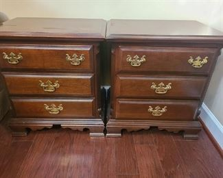 "Two bedside end tables with three drawers. End tables are in ok condition. They both measures 24"" x 17"" x 26"". Drawers are 16 1/2"" x 4 1/2"". https://ctbids.com/#!/description/share/821749"