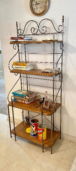 "#5 - $175 Baker's rack, oak shelves 73""H x 31""L x 16""D"