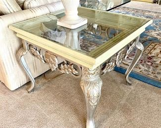 "8-	Pair of matching side table 28""square x 2'H 			$195 - Also matching sofa table  7-	Console table 52""L x 20""W x 27""H $195"