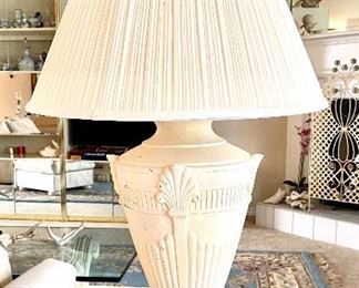 "13- Pair of plaster lamps 28""T $50"