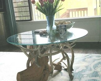 "Unique ""real"" antler table with glass top.   People always drool over this when they come over!   $950  worth way more!"