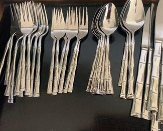 Vintage Bamboo Tiki Stainless Silverware service set for 8