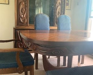 Mid-Century Rare Witco Oceanic Dining Room Set W/6 Chairs & Leaf -Light-Up Cabinet