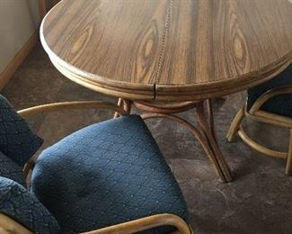 3 Vintage Bamboo Chairs, Round table