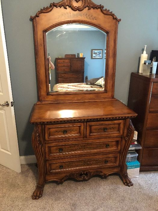 EARLY SALE $325.00. VERY TASTEFUL LION'S PAW PAINTED DRESSER WITH MIRROR.  ASHLEY MILLENIUM.