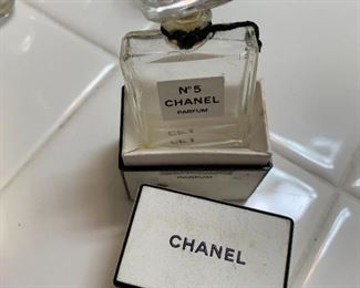 Vintage Chanel #5 and other perfume bottles