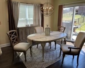 """Beautiful Farmhouse dining table set - includes 2 leaves (not pictured)    As pictured:  65w x 43d x 28t.   Leaves measure 15"""" each  expanding the table to 80""""w"""