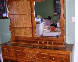 Mid Century 7 Drawer Dresser with Removable Hutch