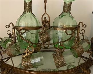 Antique Green Art Glass Decanter Set , trimmed in brass,  believed to be pre-war Japan.