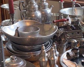 Large assortment of vintage pewter.