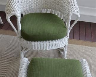 ANTIQUE WICKER CHAIR AND OTTOMAN