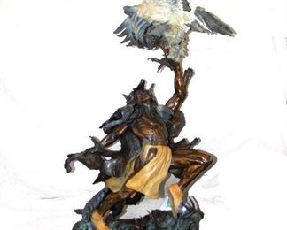 """At  4 Feet Tall this Vic Payne Bronze makes an impressive statement in any room!  Depicting an Native American Indian fighting an eagle or Condor(?) it is titled """"Brave Heart"""" and weighs about 200lbs"""