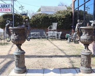 Pair of Large Bronze Urns