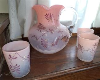 Antique Stevens & Williams Pink Opalescent Diamond Quilted Glass Pitcher & 3 Cup Set