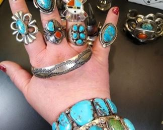 Sterling silver Turquoise rings and bracelets