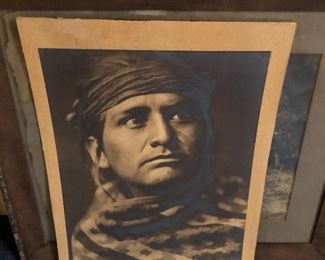 "Large 12"" x 16"" original Edward Sheriff Curtis (American, 1868-1952) Chief of the desert-Navaho-Signed. Additional photos of signature at end of photos. This special piece is open to bids through Sunday at 3:00."