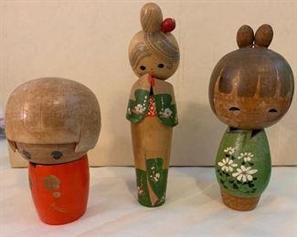 Antique Kosheki Japenese Wooded Dolls - 2 are signed