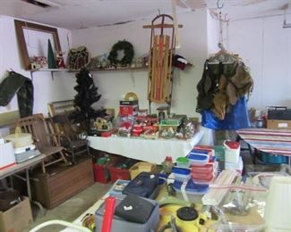 Christmas village, Sled, more Christmas stuff, Camo huntingware