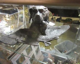 Vintage Bronze Retriever Ink Well with Glass Well