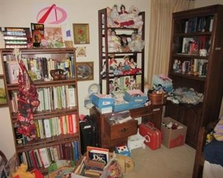 Toys, Dolls, Assorted Children's and Adult Reading Books.