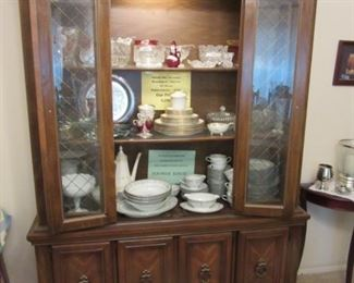 Beautiful Lite China cabinet, middle shelf Oxford 'Bennington' and Lowest shelf has 61 pieces of Noritake 'Edgewood'.