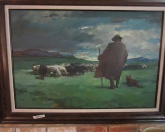 Oil on Canvas Shepherd and Sheep Dog