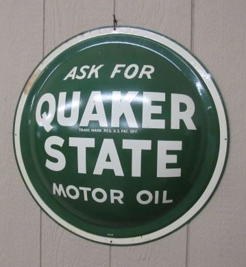 """1963 - 24"""" Metal Quaker State Oil Button Sign"""