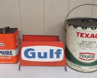 Gulf Can - Gulf Tire Display - Texaco Bucket