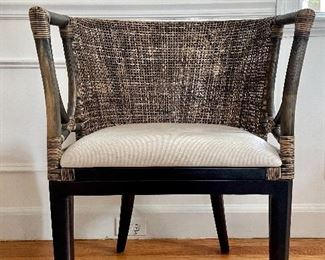 "Item 2:  Rattan Chair with Upholstered Seat - 21.5""l x 17.75""w x 31.5""h:  $175"