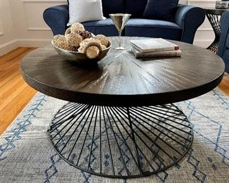 "Item 3:  Contemporary Round Cocktail Table with Iron Base - 40.5"" x 18"": $275"