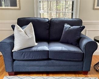 "Item 6:  Brand New Matching Navy Loveseat, with two matching pillows  - 65""l x 36""w x 37""h:  $395"