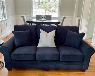 "Item 7:  Brand New Navy Sofa with two matching navy pillows  - 90""l x 36""w x 37""h: $495"