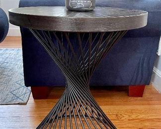 "Item 8:  Brand New Side Table with Metal Base - matches cocktail table - 22"" x 24.5"":  $175"