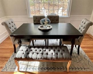"Item 9:  Brand New Dining Table with 4 Upholstered Chairs and 2-Seater Bench - light grey tufted fabric:  $800                                                                                                        Table - 65""l x 38""w x 30.5""h                                                                                                   Bench - 45""l x 17""w x 17.5""h                                                                        (4) Chairs - 19""l x 17.25""w x 39""h"